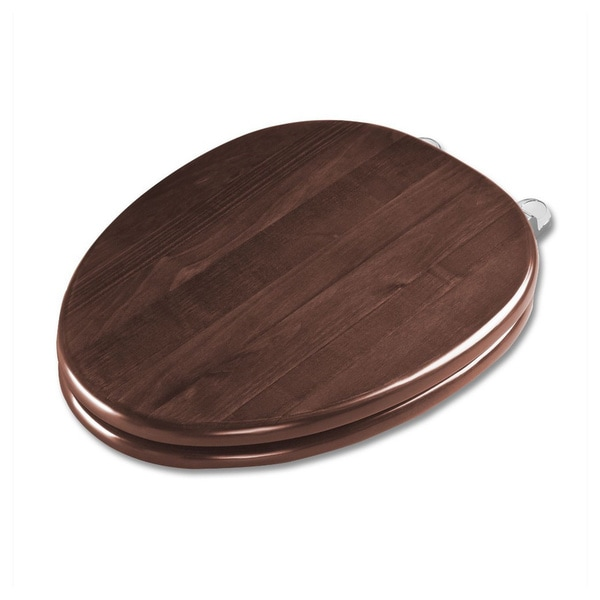 Wood Soft-close Polished Brass Toilet Seat