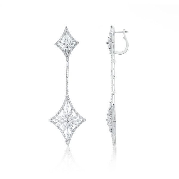 Blue Box Jewels Rhodium-plated .925 Sterling Silver Shimmerring Snowflake Earrings