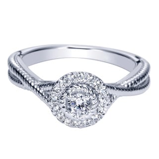 14k White Gold 1/4ct TDW Diamond Milgrain Double Row Ring (H-I, I1-I2)