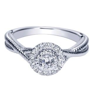 14k White Gold 1/4ct TDW Diamond Milgrain Double Row Ring (H-I, I1-I2)
