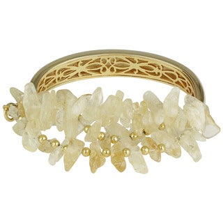 Roman Goldtone Champagne Crystal Bangle Bracelet