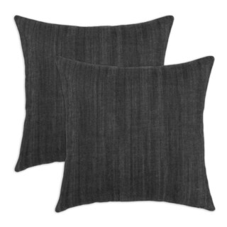 Denim Black Self Backed 17-inch Throw Pillow (Set of 2)
