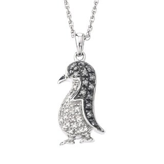 SilverMist Sterling Silver 1/4ct TDW Grey and White Diamond Penguin Necklace (H-I, I2-I3)