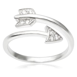 Journee Collection Sterling Silver Cubic Zirconia Arrow Ring