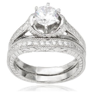 Journee Collection Sterling Silver Cubic Zirconia Engagement Ring Set