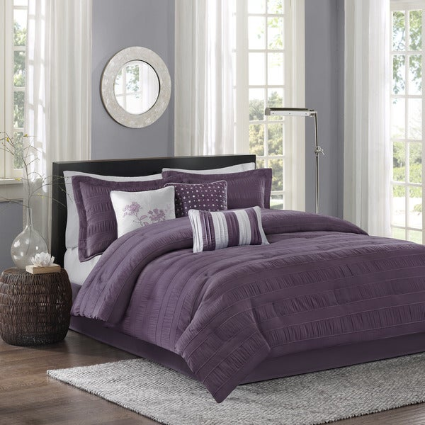 Madison Park Richmond 7-Piece Queen Comforter Set in Plum (As Is Item)