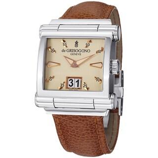 De Grisogono Men's GRANDE N02 'Instrmento' Cream Dial Brown Leather Strap Watch