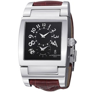 De Grisogono Men's UNODF N07BR 'Instrmento' Black Dial Burgundy Leather Strap Watch