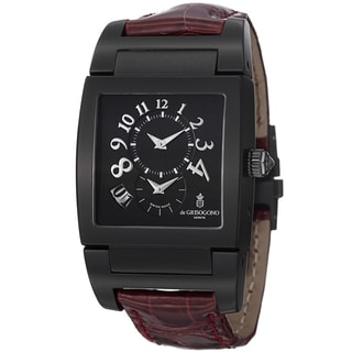 De Grisogono Men's UNODF N04 'Instrmento' Black Dial Burgundy Leather Strap Watch