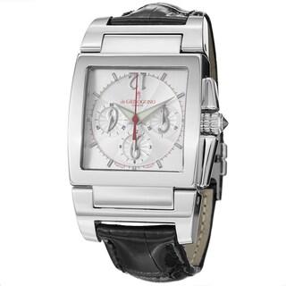 De Grisogono Men's CHRONO N02 'Instrmento' Silver Dial Black Leather Strap Watch