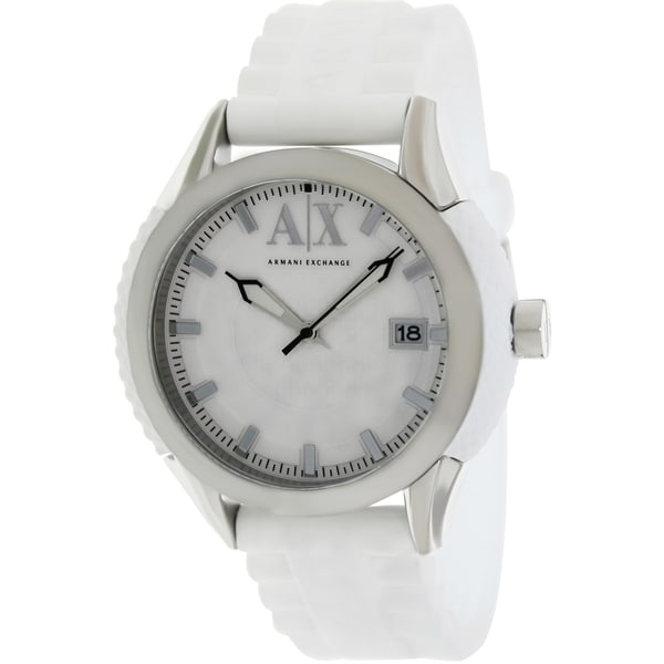 Armani Exchange Men's AX1229 White Silicone Quartz Watch with White Dial