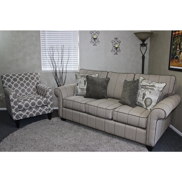 Somette Peyton High Leg Rolled Arm Striped Beige Sofa And