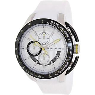 Armani Exchange Men's AX1411 White Silicone Quartz Watch with White Dial