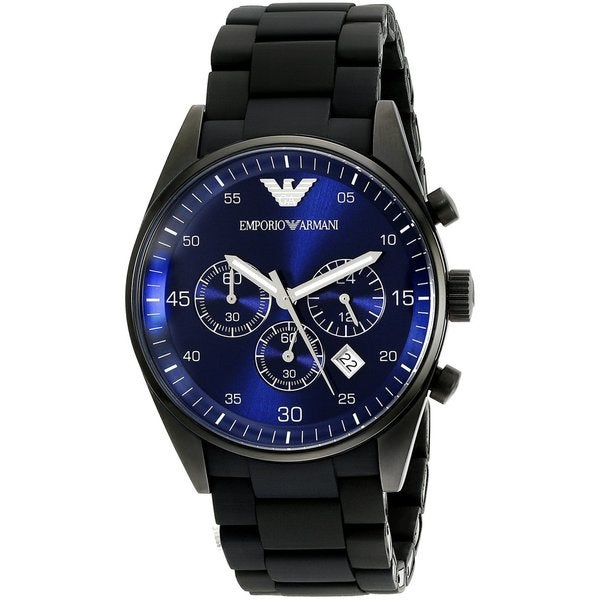 Emporio Armani Men's Sportivo AR5921 Black Silicone Quartz Watch with Blue Dial
