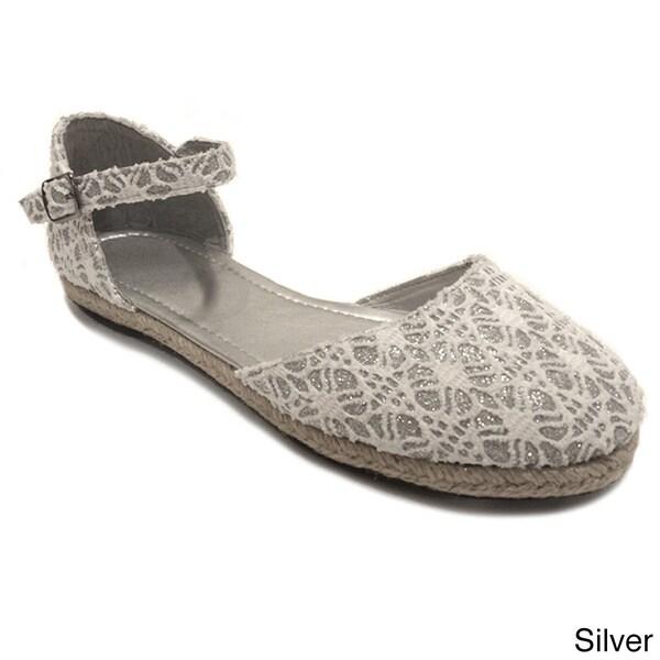 Olivia Miller Women's Glitter Crocheted Espadrille Flats