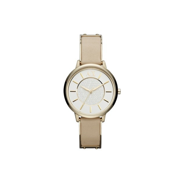 Armani Exchange Women's AX5301 Beige Leather Quartz Watch with White Dial