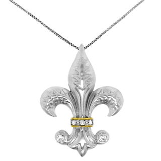Sterling Silver Diamond Accent 18-inch Fleur de Lis Necklace