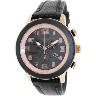 Citizen Men's Eco-Drive AT2233-05E Black Leather Eco-Drive Watch with Black Dial