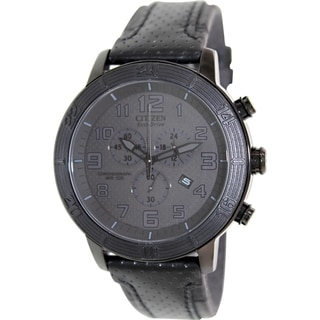 Citizen Men's Eco-Drive AT2205-01E Black Leather Eco-Drive Watch with Black Dial