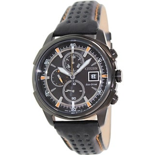 Citizen Men's Eco-Drive CA0375-00E Black Leather Eco-Drive Watch with Black Dial