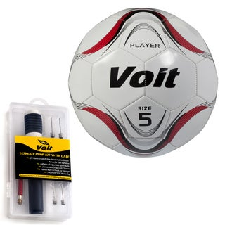Voit Size 5 Player Soccer Ball with Ultimate Inflating Kit - White and Red Graphic