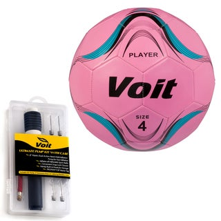 Voit Size 4 Player Soccer Ball with Ultimate Inflating Kit - Neon Pink