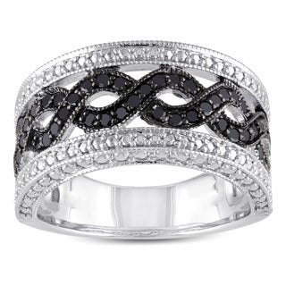 Haylee Jewels Sterling Silver 1/2ct TDW Black Diamond Ring