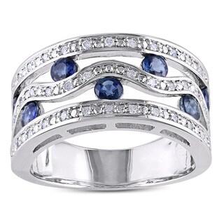 Miadora Silver 1ct TGW Sapphire and 1/5ct TDW Diamond Ring (H-I, I2-I3)