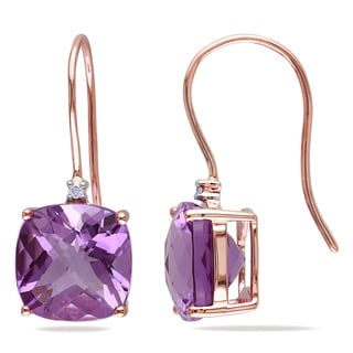 Miadora 10k Rose Gold Amethyst and Diamond Accent Drop Earrings