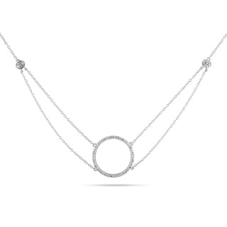 Haylee Jewels Sterling Silver 1/10ct TDW Diamond Circle Necklace (H-I, I2-I3)