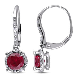 Miadora 10k White Gold Created Ruby and 1/10ct TDW Diamond Earrings (H-I, I2-I3)