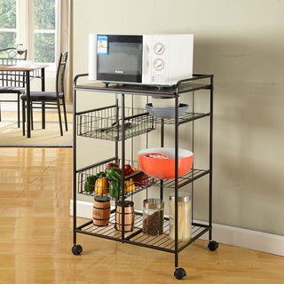 Metal/ Marble Black Kitchen Cart