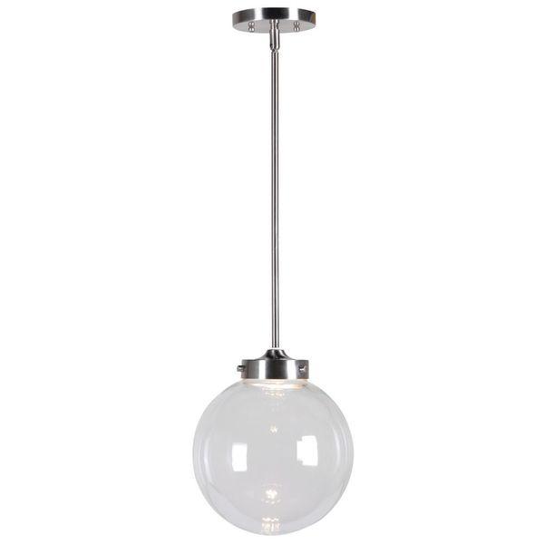 Consta LED 1-light Silvertone Glass Globe Pendant