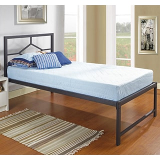 Black Metal Twin-size Day Bed Frame with Headboard