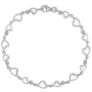 Finesque Sterling Silver Diamond Accent Heart Link Bracelet