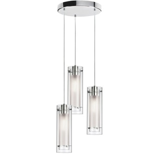 Dainolite 3-light Round Frosted Glass/ Polished Chrome Pendant