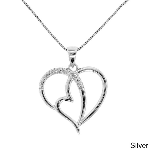Gioelli Sterling Silver Diamond Accent Curve Heart Necklace