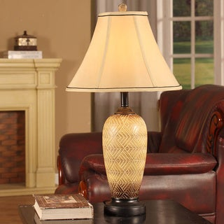 Ivory Finished Tribal Textured Table Lamps (Set of 2)
