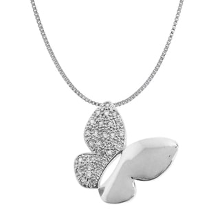 Gioelli Sterling Silver Diamond Accent Textured Butterfly Necklace