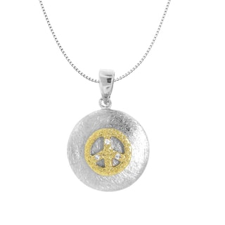 Gioelli Goldplated Brushed Sterling Silver Peace Symbol Necklace