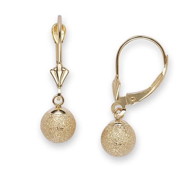 14k Yellow Gold Medium Laser-cut Ball Dangle Earrings
