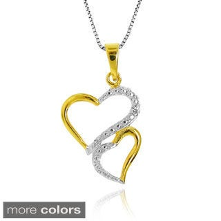 Gioelli Sterling Silver Diamond Accent Double Heart Necklace