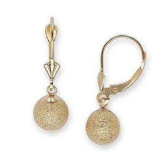 14k Yellow Gold Large Laser-cut Ball Dangle Earrings