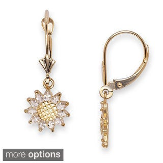 14k Yellow Gold Cubic Zirconia Sunflower Leverback Dangle Earrings