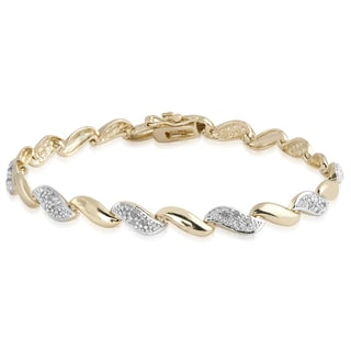 Finesque Gold Over Sterling Silver 1/4ct TDW Diamond Link Bracelet