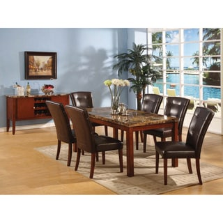 Walnut Finish Faux Marble-top Dining Table