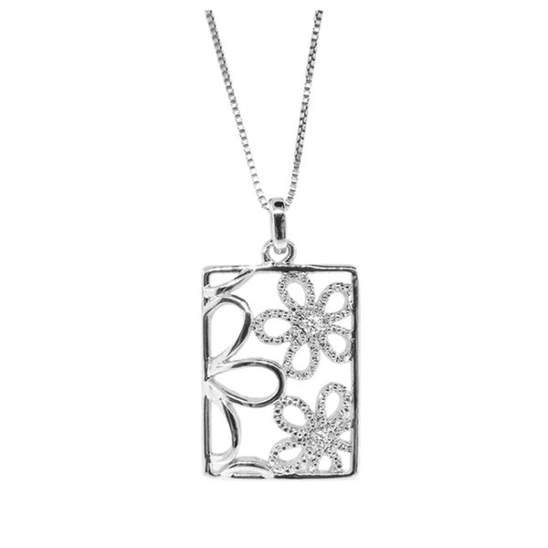 Gioelli Sterling Silver Diamond Accent Cutout Flower Necklace