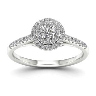 De Couer 10k White Gold 1/2ct TDW Diamond Double Halo Engagement Ring (H-I, I2)