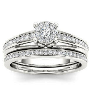 De Couer 10k White Gold 3/8ct TDW Diamond Bridal Set (H-I, I2)