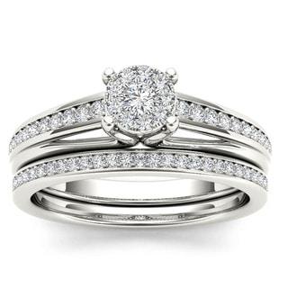 De Couer 10k White Gold 3/8ct TDW Diamond Bridal Set (H-I, I2)